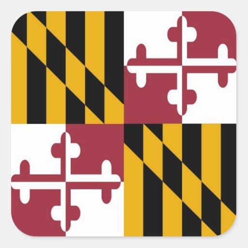 Bandera del estado de Maryland Calcomania Cuadradas Personalizadas