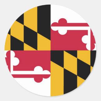 Bandera del estado de Maryland Pegatina Redonda