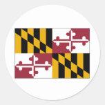 Bandera del estado de Maryland Pegatinas Redondas