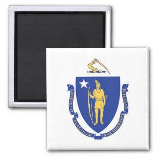 Bandera del estado de Massachusetts Imán Cuadrado