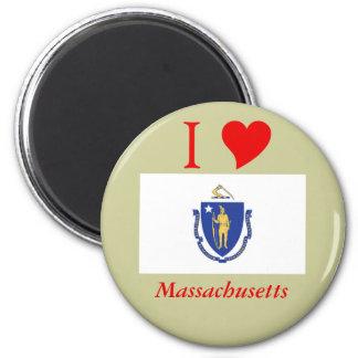 Bandera del estado de Massachusetts Imán Redondo 5 Cm