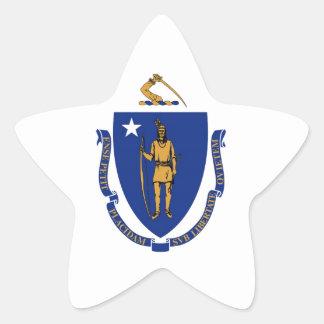 Bandera del estado de Massachusetts Pegatina En Forma De Estrella