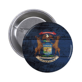 Bandera del estado de Michigan en grano de madera Pin Redondo De 2 Pulgadas