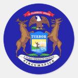 Bandera del estado de Michigan Etiquetas Redondas
