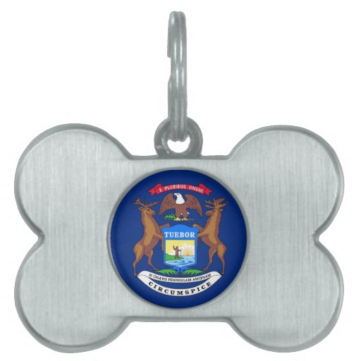 Bandera del estado de Michigan Placa De Nombre De Mascota