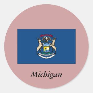 Bandera del estado de Michigan Pegatinas Redondas