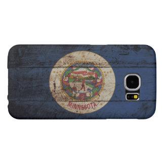 Bandera del estado de Minnesota en grano de madera Fundas Samsung Galaxy S6
