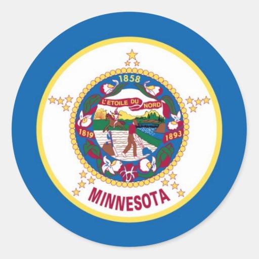 Bandera del estado de Minnesota Pegatina Redonda