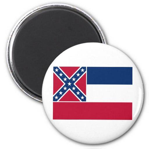 Bandera del estado de Mississippi Imán Redondo 5 Cm