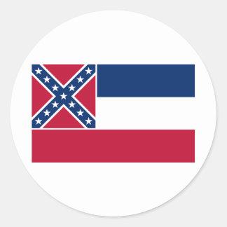 Bandera del estado de Mississippi Pegatina Redonda