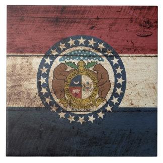 Bandera del estado de Missouri en grano de madera Azulejo Cuadrado Grande