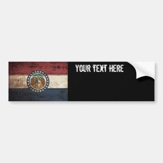 Bandera del estado de Missouri en grano de madera Etiqueta De Parachoque