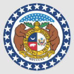 Bandera del estado de Missouri Pegatina Redonda