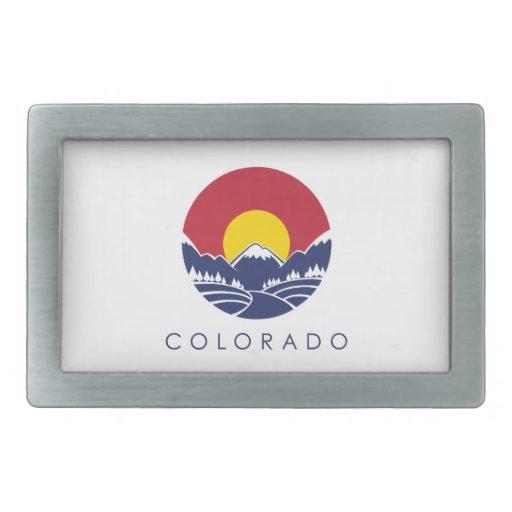Bandera del estado de montaña rocosa de Colorado Hebillas De Cinturon Rectangulares