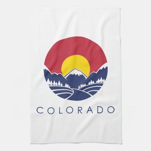 Bandera del estado de montaña rocosa de Colorado Toallas De Cocina