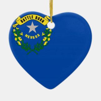 Bandera del estado de Nevada Adorno Navideño De Cerámica En Forma De Corazón