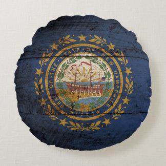 Bandera del estado de New Hampshire en grano de Cojín Redondo