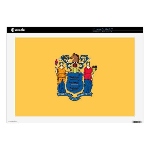 Bandera del estado de New Jersey Calcomanías Para 43,2cm Portátiles