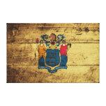 Bandera del estado de New Jersey en grano de Impresión En Lienzo Estirada
