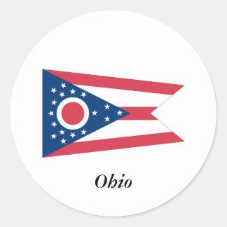 Bandera del estado de Ohio Etiquetas Redondas