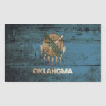 Bandera del estado de Oklahoma en grano de madera Pegatina Rectangular