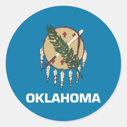 Bandera del estado de Oklahoma Pegatina Redonda