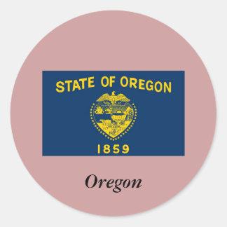 Bandera del estado de Oregon Pegatina Redonda