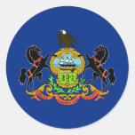 Bandera del estado de Pennsylvania Etiquetas Redondas