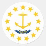 Bandera del estado de Rhode Island Pegatina Redonda