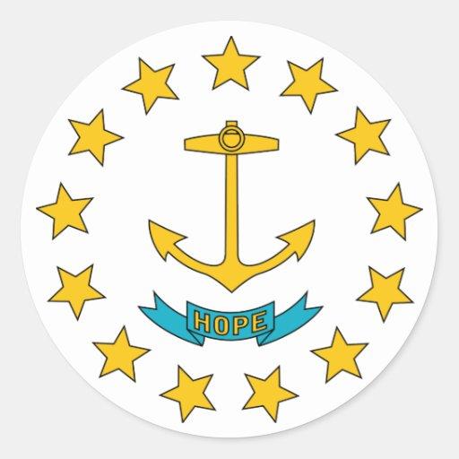 Bandera del estado de Rhode Island Etiqueta Redonda