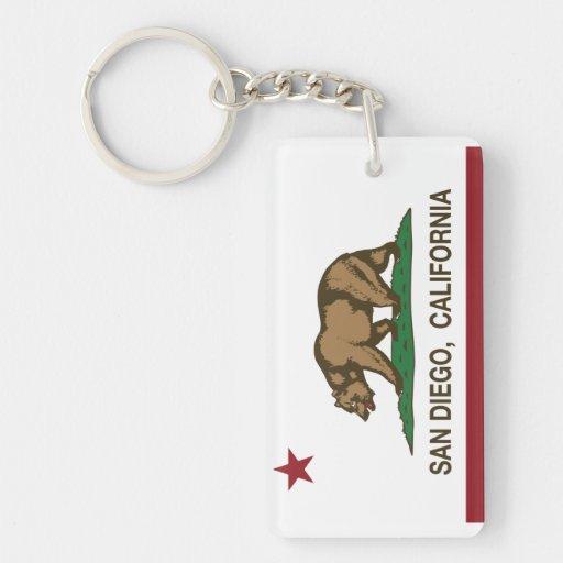 Bandera del estado de San Diego California Llavero Rectangular Acrílico A Doble Cara