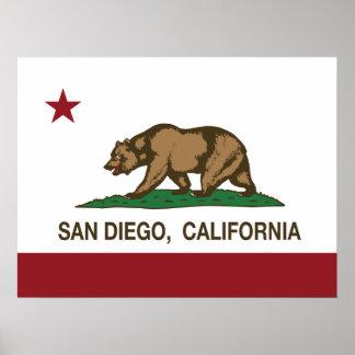 Bandera del estado de San Diego California Poster