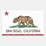 Bandera del estado de San Diego California Pegatina Rectangular