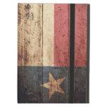 Bandera del estado de Tejas en grano de madera