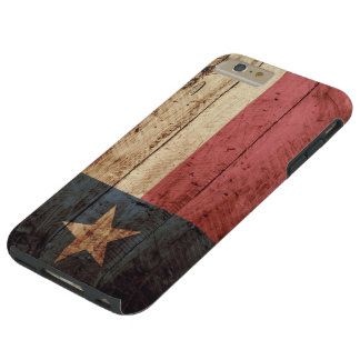 Bandera del estado de Tejas en grano de madera Funda De iPhone 6 Plus Tough