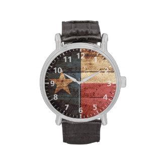 Bandera del estado de Tejas en grano de madera Relojes De Mano