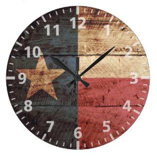 Bandera del estado de Tejas en grano de madera Reloj Redondo Grande