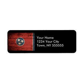 Bandera del estado de Tennessee en grano de madera Etiqueta De Remitente