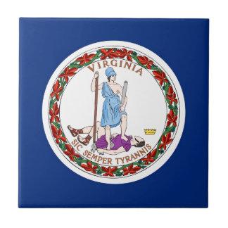 Bandera del estado de Virginia Azulejo Cuadrado Pequeño