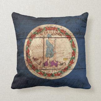 Bandera del estado de Virginia en grano de madera Cojín Decorativo