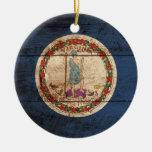 Bandera del estado de Virginia en grano de madera Adorno Para Reyes