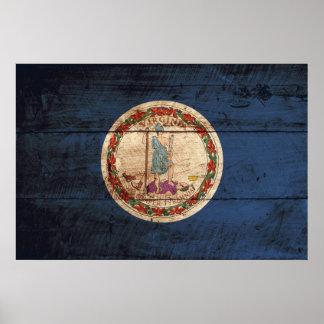 Bandera del estado de Virginia en grano de madera Poster