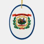 Bandera del estado de Virginia Occidental Adorno Ovalado De Cerámica