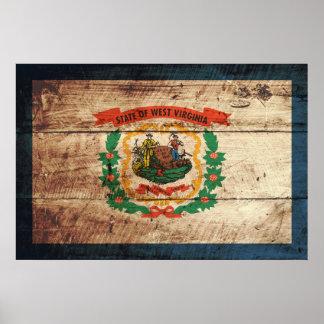 Bandera del estado de Virginia Occidental en grano Impresiones