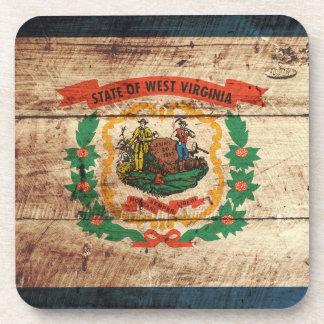 Bandera del estado de Virginia Occidental en grano Posavasos De Bebida