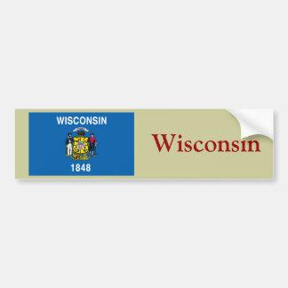 Bandera del estado de Wisconsin Pegatina De Parachoque