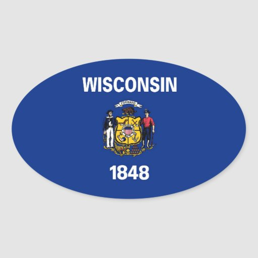 Bandera del estado de Wisconsin Calcomania Oval