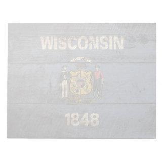 Bandera del estado de Wisconsin en grano de madera Bloc De Notas
