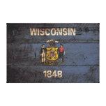 Bandera del estado de Wisconsin en grano de madera Impresión En Tela