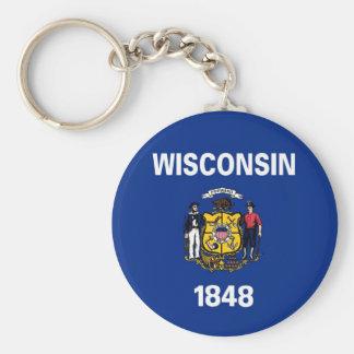 Bandera del estado de Wisconsin Llavero Redondo Tipo Pin